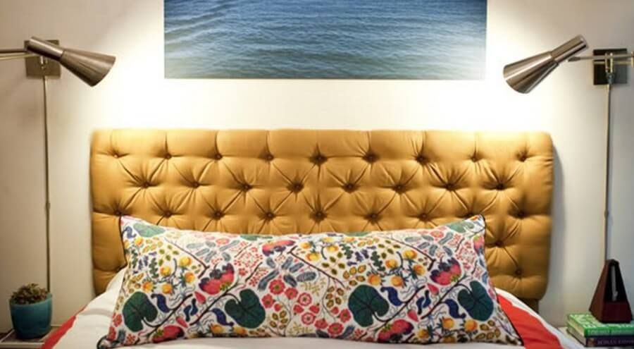 Modern Yellow Tufted Headboard 900×495 Pixels