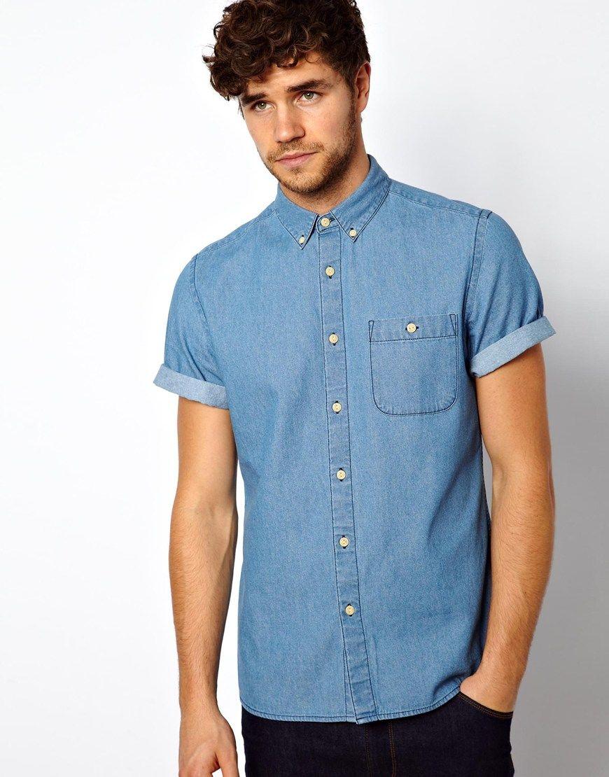 d68333909e4 mens short sleeve shirt flat denim - Google Search
