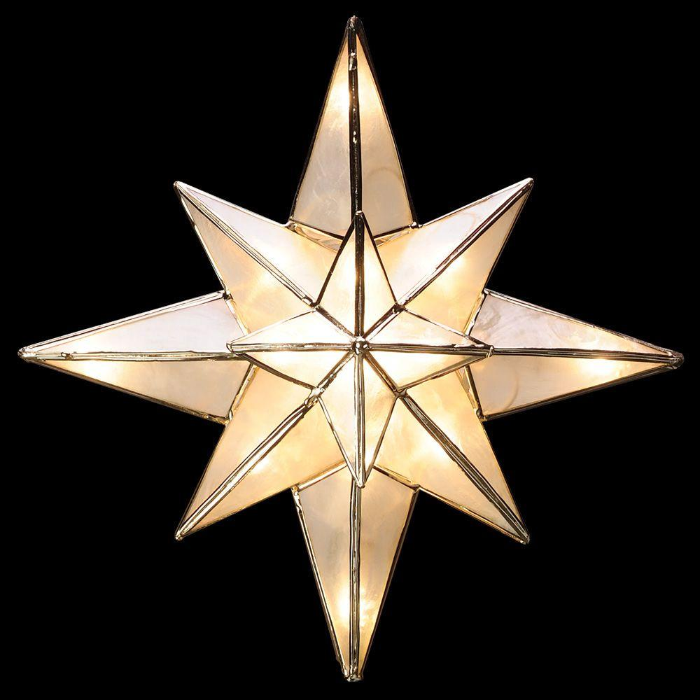 Christmas Tree Star.Ge Clear Capiz Bethlehem Star Tree Topper Home Lighted
