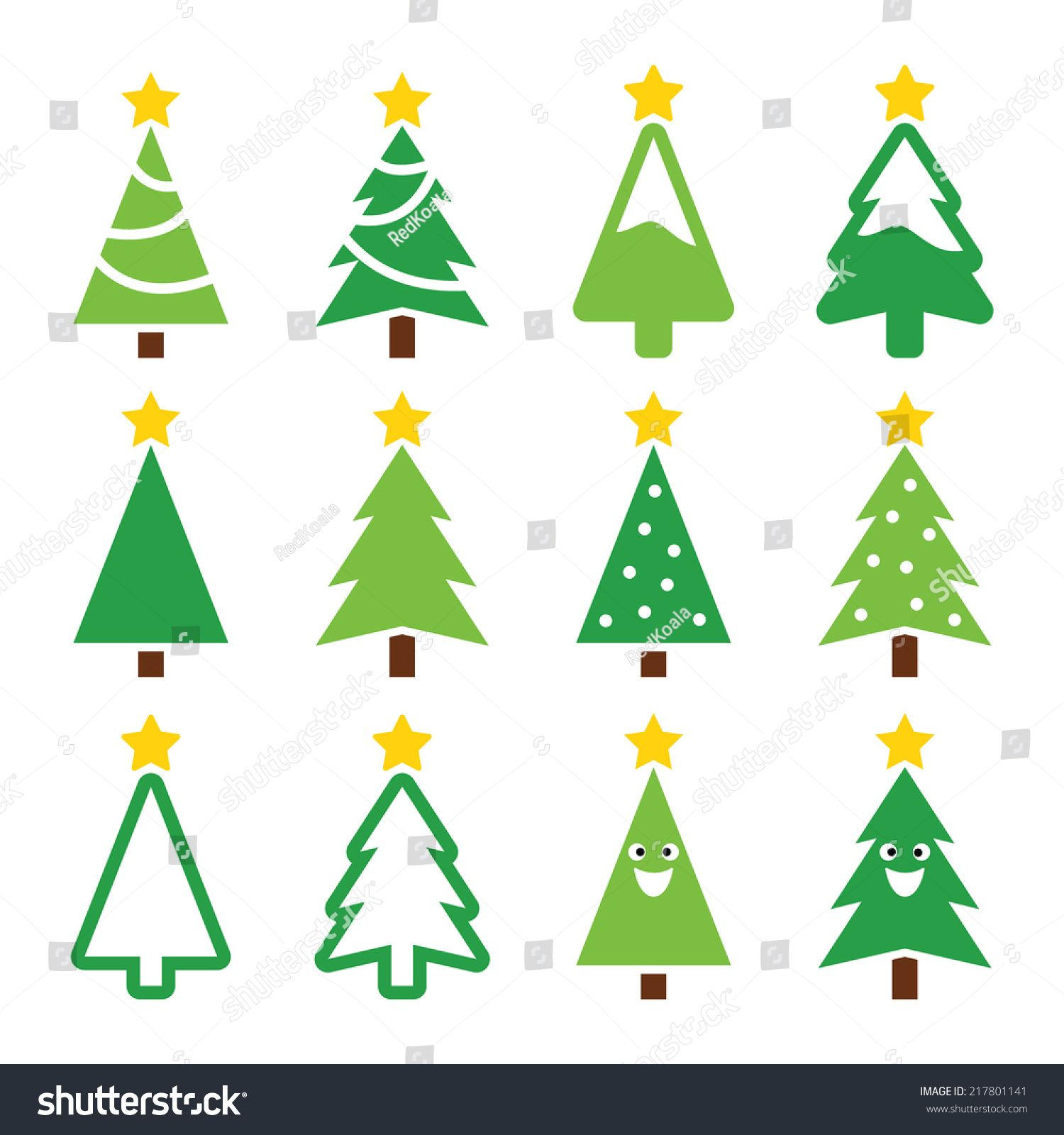 Christmas Green Tree With Star Vector Icons Set Christmas Vectors Vector Icons Green Trees