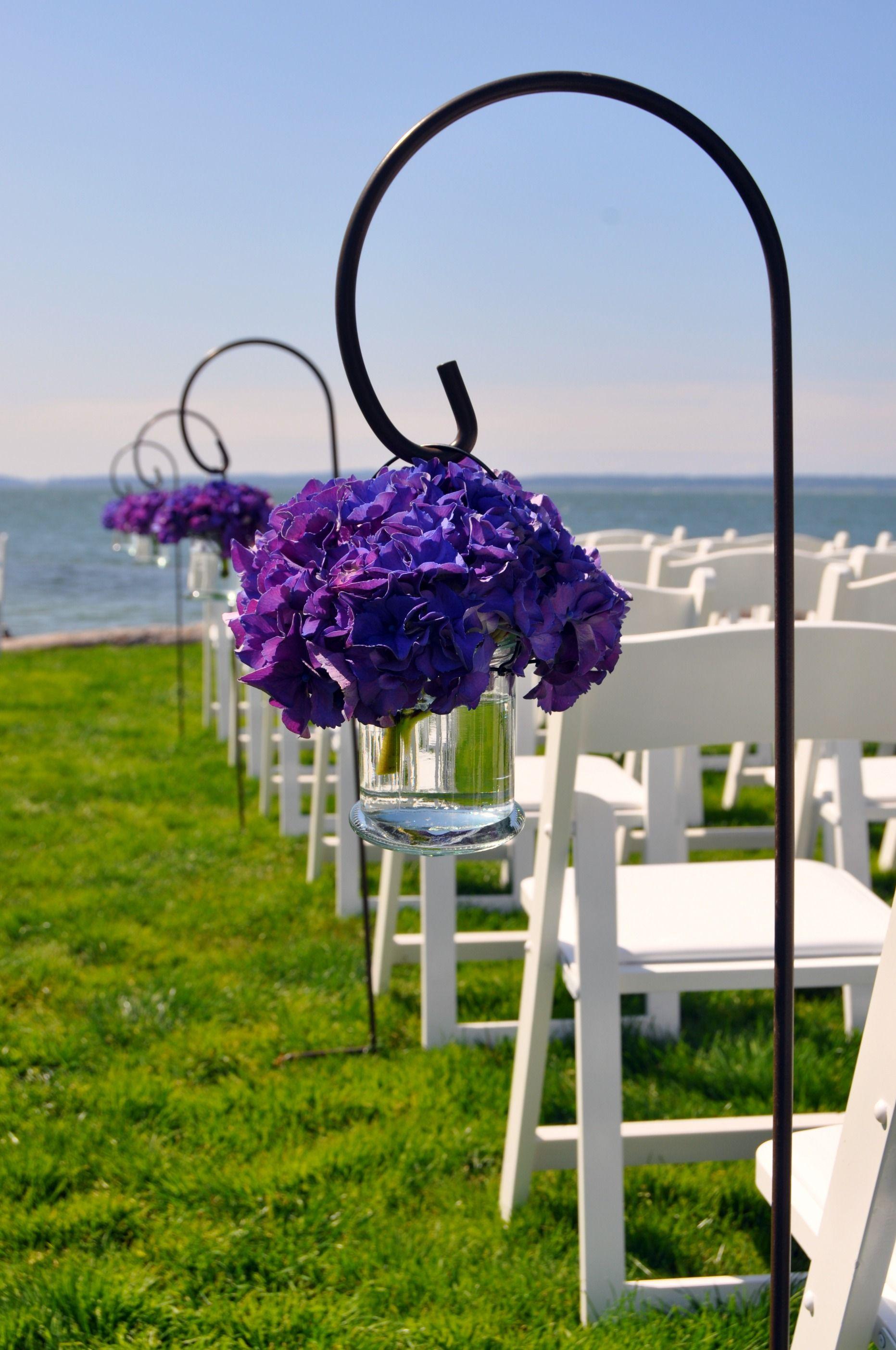 Shepherd Hooks Holding Vases Of Purple Hydrangea Purple Wedding Flowers Country Bouquet Wedding Flowers
