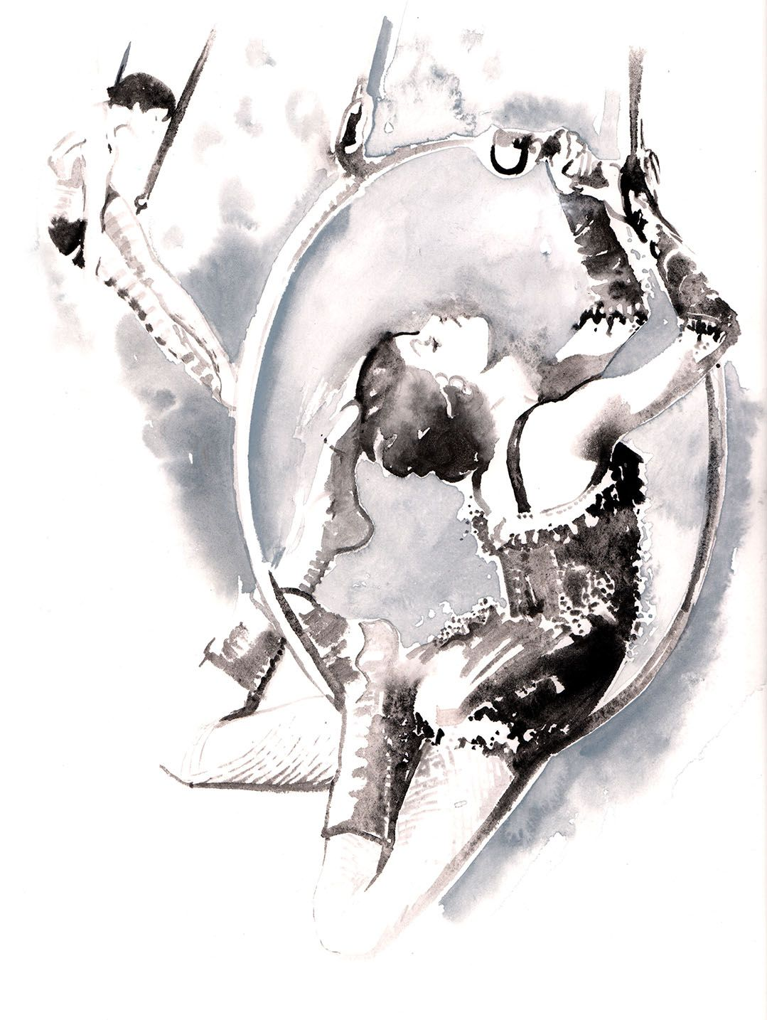 Acrobat 2 in black & white ink. Painted from vintage photo's