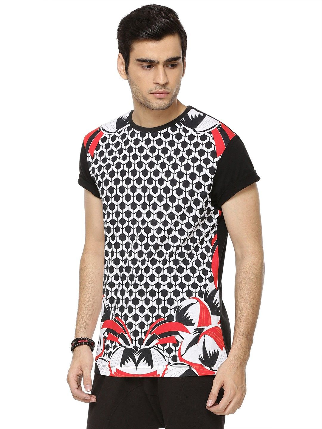 cf827bb26ad0 Buy MANISH ARORA FOR KOOVS Hive Print T-shirt For Men - Men's Black T-shirts  Online in India