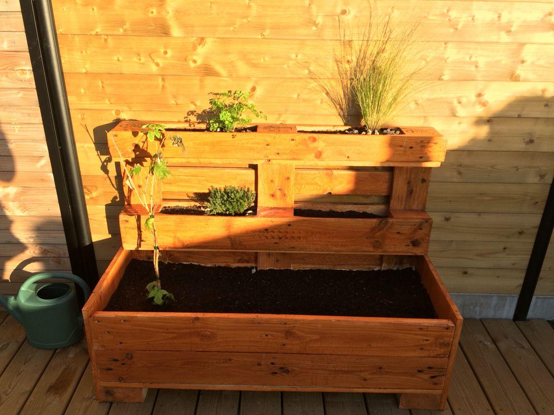 jardini re en palette utile pour mes aromates. Black Bedroom Furniture Sets. Home Design Ideas