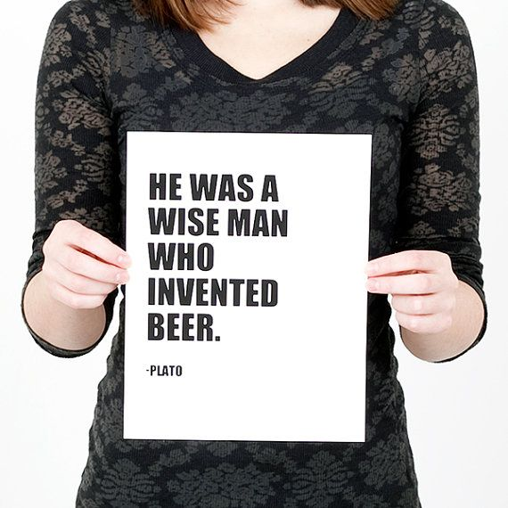Plato Beer Quote Print Black And White Home Decor Beer Typography