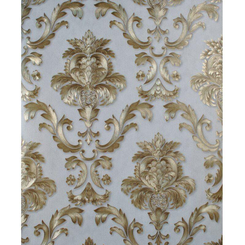 Best Beige Grey Gold Textured Luxury Classic 3D Damask 400 x 300