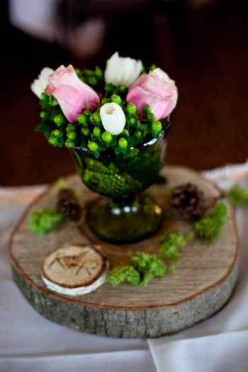 Wood Burn' Love: Tips for wood burning your own monogram wood slices. Rustic wedding birch wood pink and white roses with green berries moss- Designs By Jolene