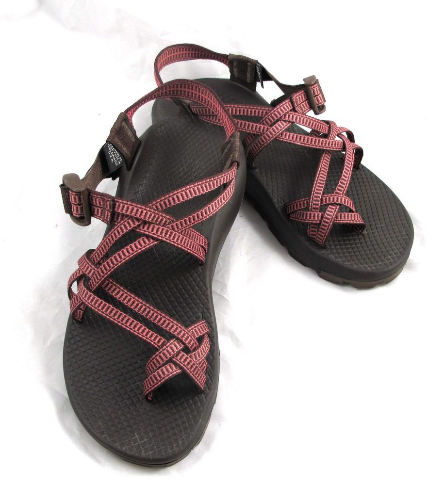 Women's CHACO Zong X EcoTread Pink Brown Print Strappy Sandals Size US 8