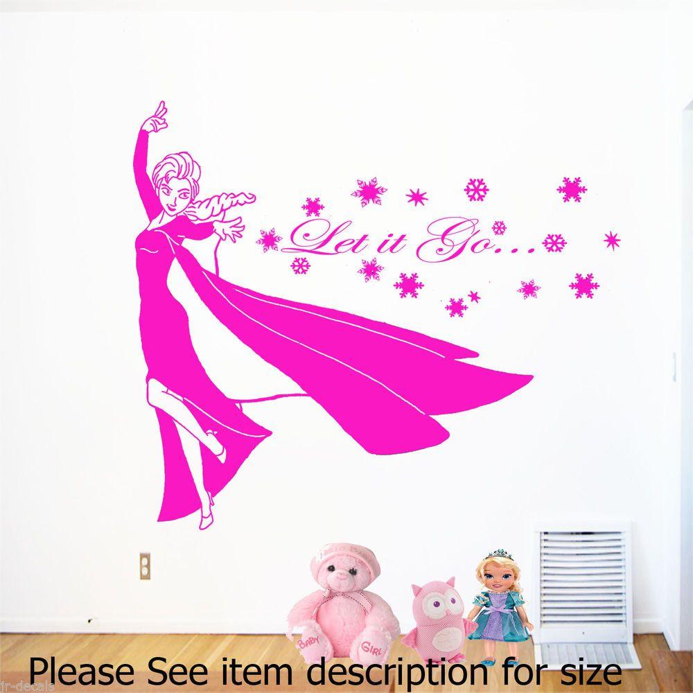 Disney frozen wall stencils - Disney Frozen Elsa Let It Go Wall Stickers Personal Name Wall Art Vinyl Decal 02