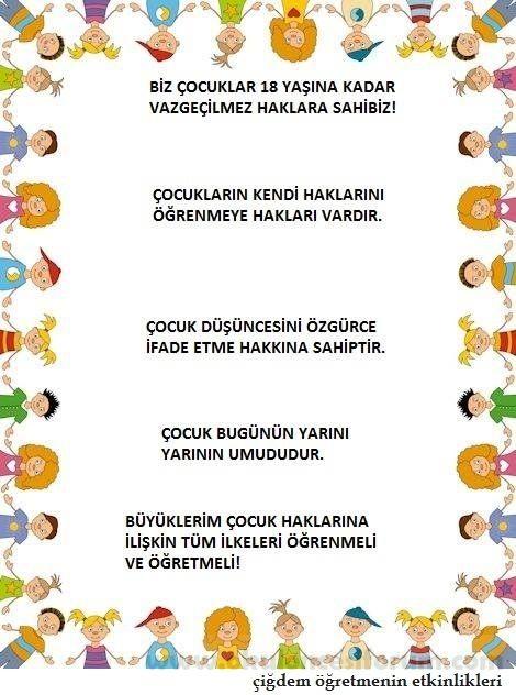 Dünya çocuk Hakları Günü Etkinliğimiz Boyama Sayfasi Preschool