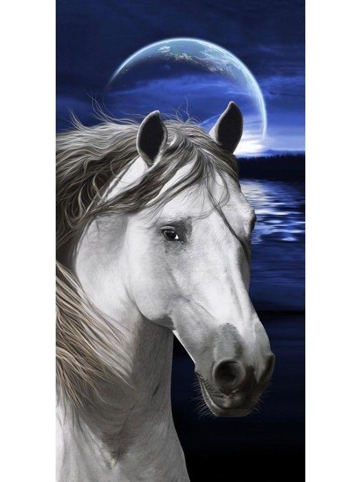 2 Persoons Strandlaken.Strandlaken The Beachtowel Paard Onder Maanlicht 2 Persoons
