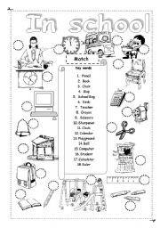 English worksheet: Things in school   school things ...