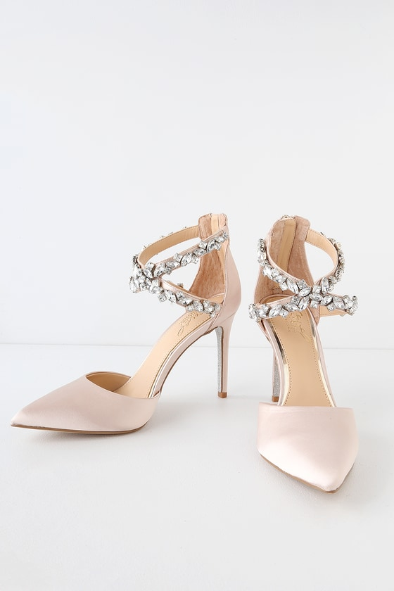 24d622b469 ... by Badgley Mischka Jazmine Champagne Satin Rhinestone Pumps make every  step feel like a fairytale! Satin heels with rhinestone encrusted ankle  straps.