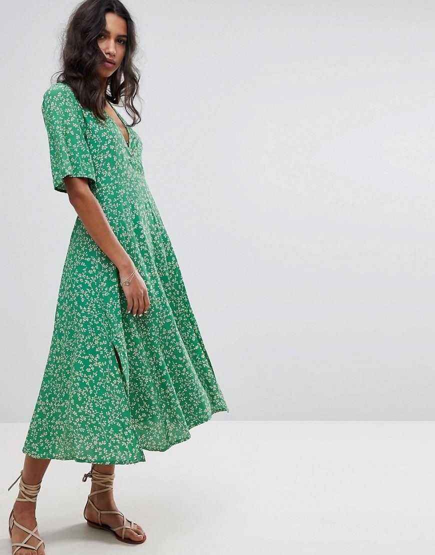 49289b2207d6  Valentines  AdoreWe  ASOS -  Faithful the Brand Faithfull Floral Midi Dress  - Green - AdoreWe.com