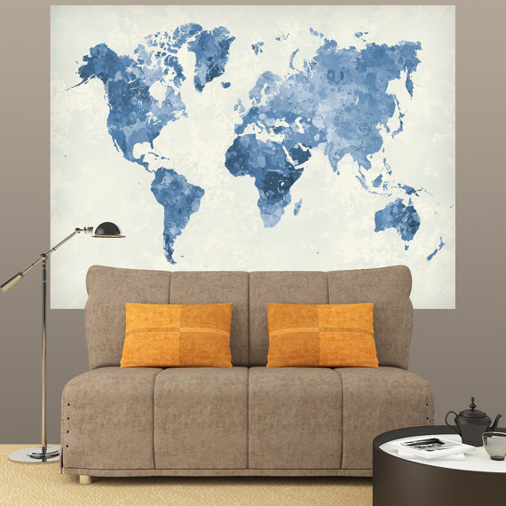 WORLD MAP 03 Blue Watercolor Paint Poster Mural Decal Sticker Paper - copy rainbow world map canvas