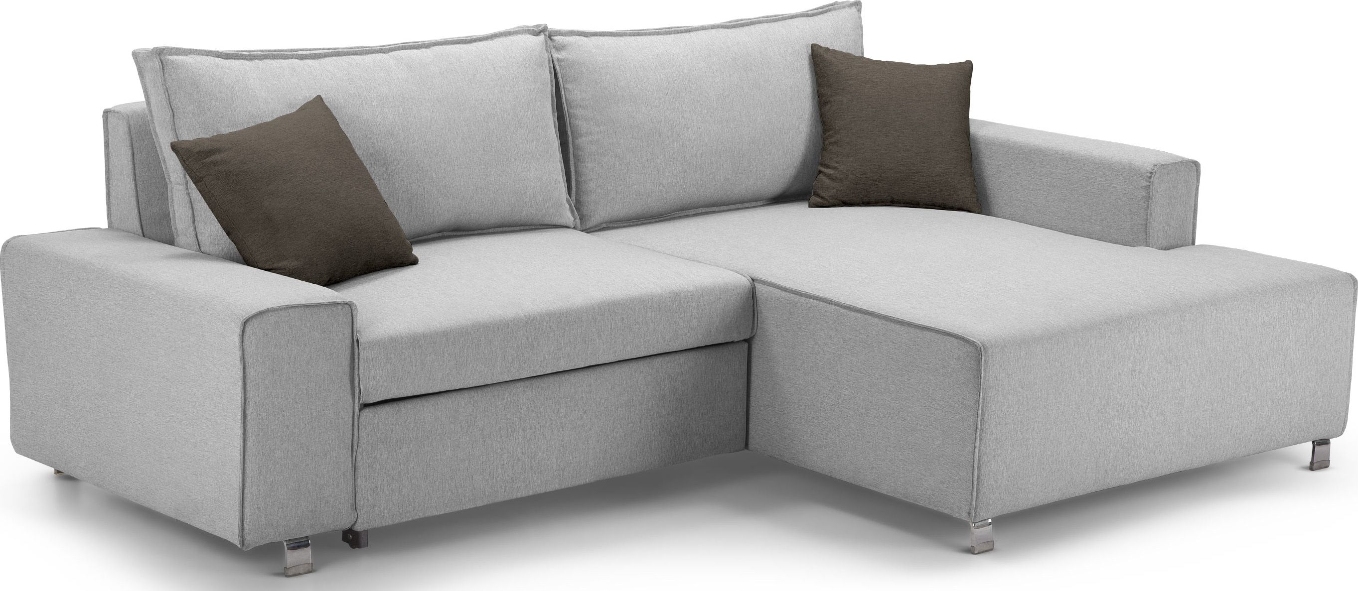 Sofa Bed Express Delivery Mayne Right Hand Facing Corner Sofa Bed Clear Grey Stone