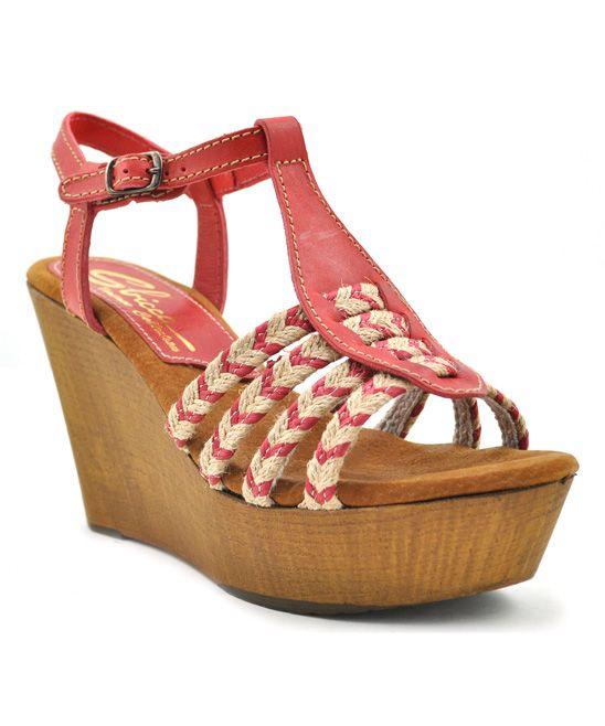 Red Raite Leather Wedge Sandal