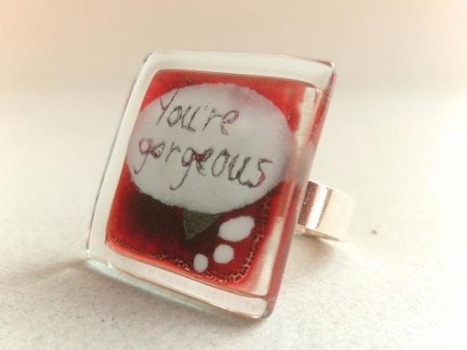 Glass jewelry - ring adjustable
