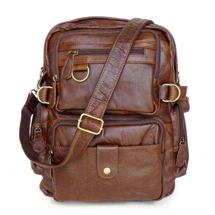Bolso de montaña grande para mujeres y hombres mochila cuero natural marrón   AL93103  - €99.58   bzbolsos.com b35b7bbce20c3