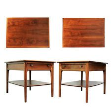 Pair Vtg Mid Century Modern Mersman Figured Walnut End Tables Nightstand Danish