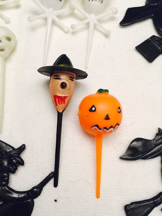 Vintage Halloween Decorations Cupcake Picks Party Decor Witches