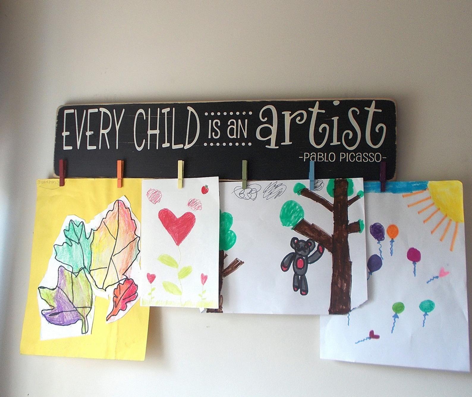 Every Child Is An Artist Children's Art Display Board Wood