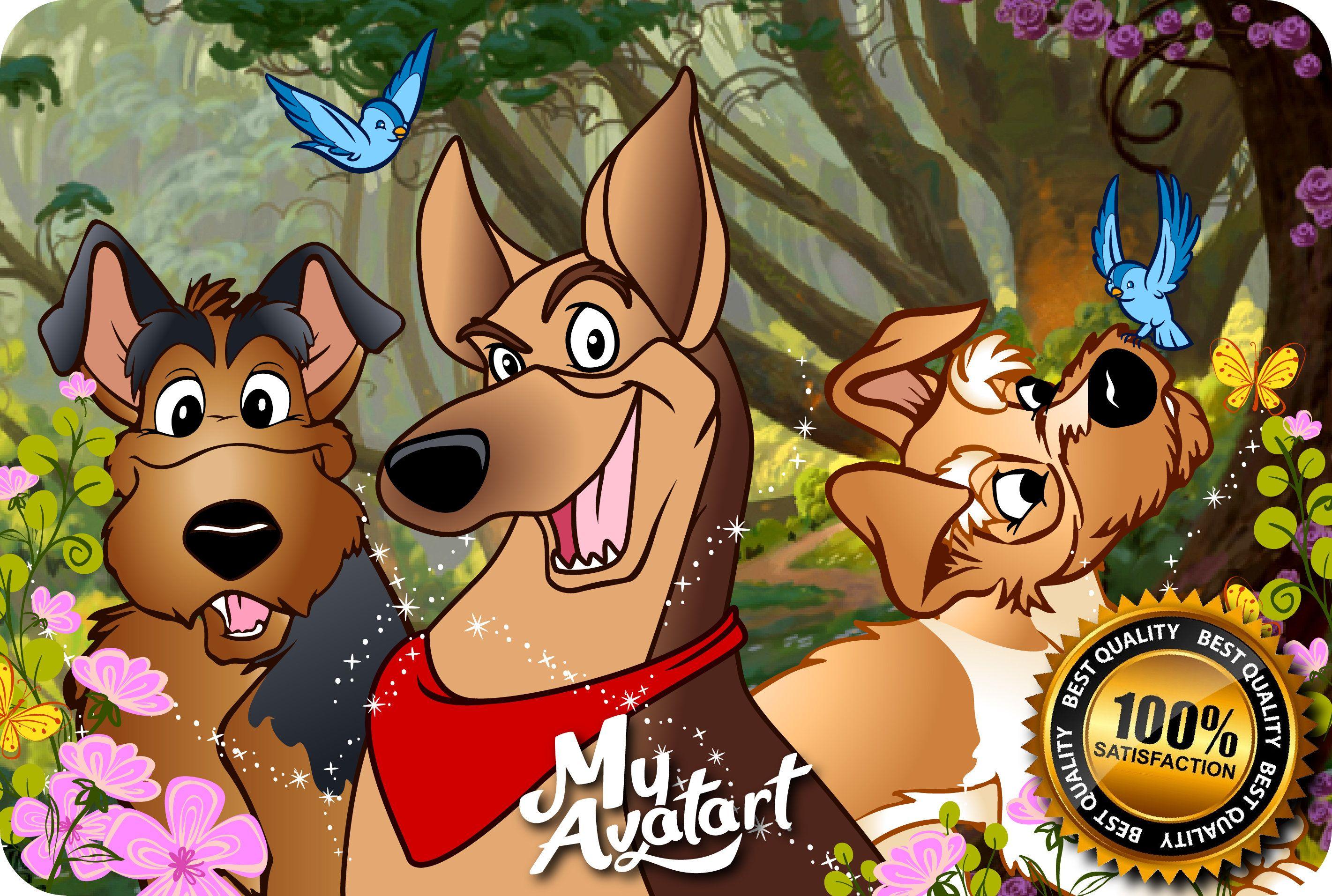 Personalized Cartoon Of Your Dog Disney Dog Cartoon Dog Etsy In 2020 Disney Drawings Animal Drawings Person Cartoon