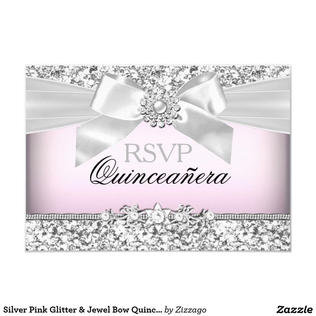 Silver Pink Glitter & Jewel Bow Quinceanera RSVP Card | Pink glitter ...