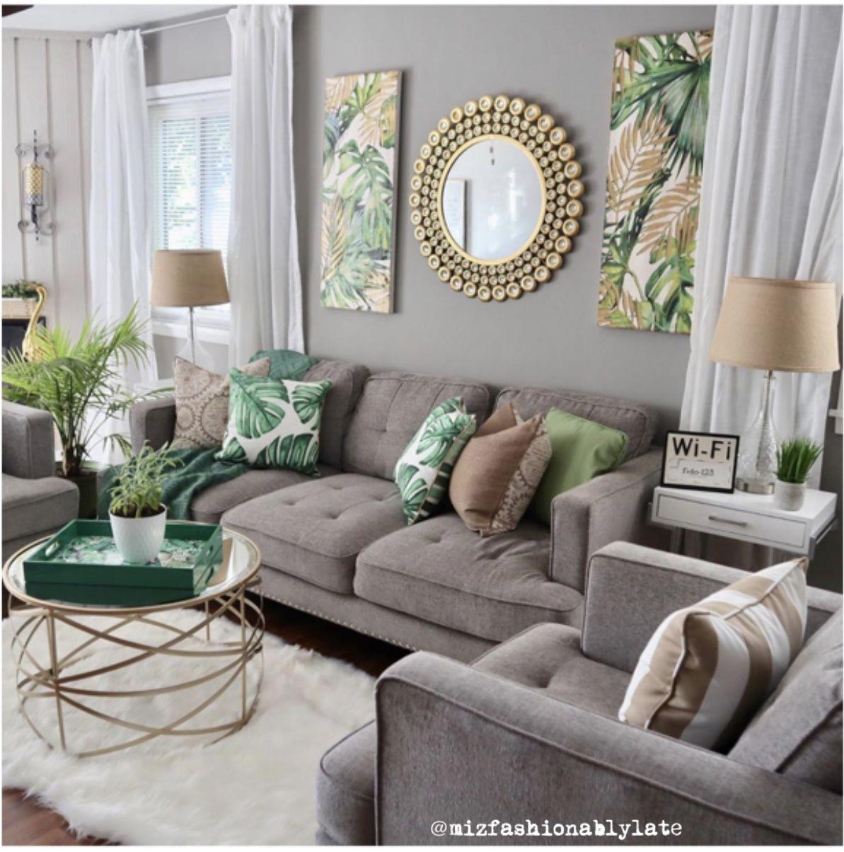 Botanical Grey Living Room Glam Home Decor Green Living Room Decor Living Room Grey Living Room Green Home decor living room images
