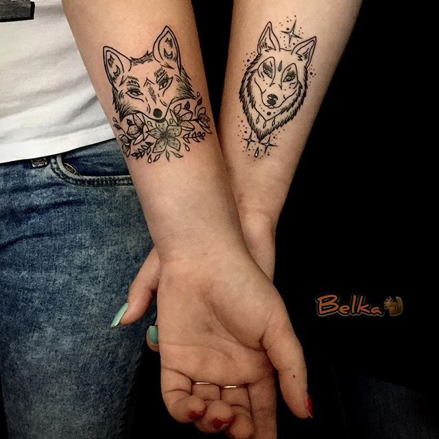 Matching Wolf Fox Tats Best Couple Tattoos Tattoo Designs Tattoos