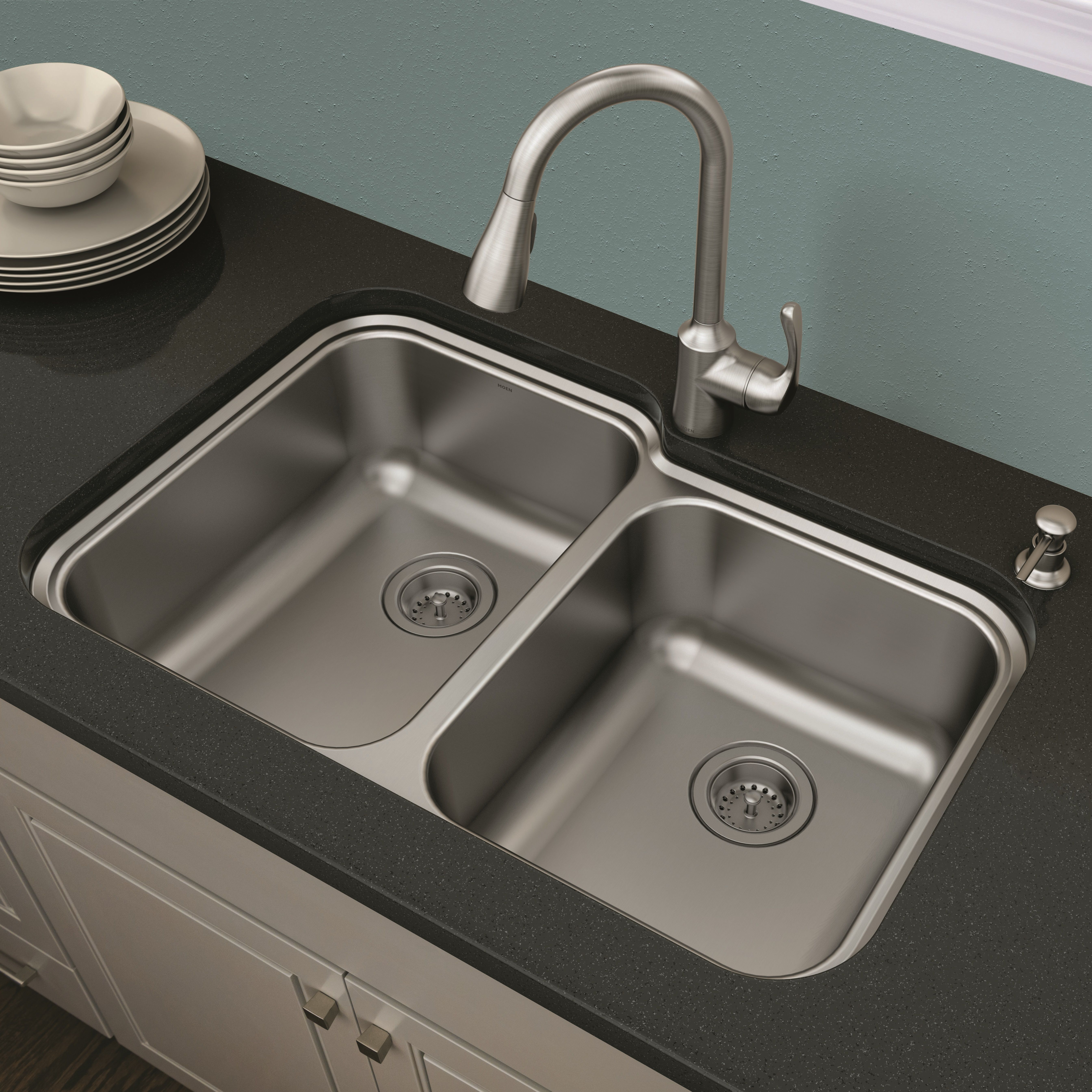 This Moen® Lodi Kitchen Sink Combo installs with ease. Featuring ...