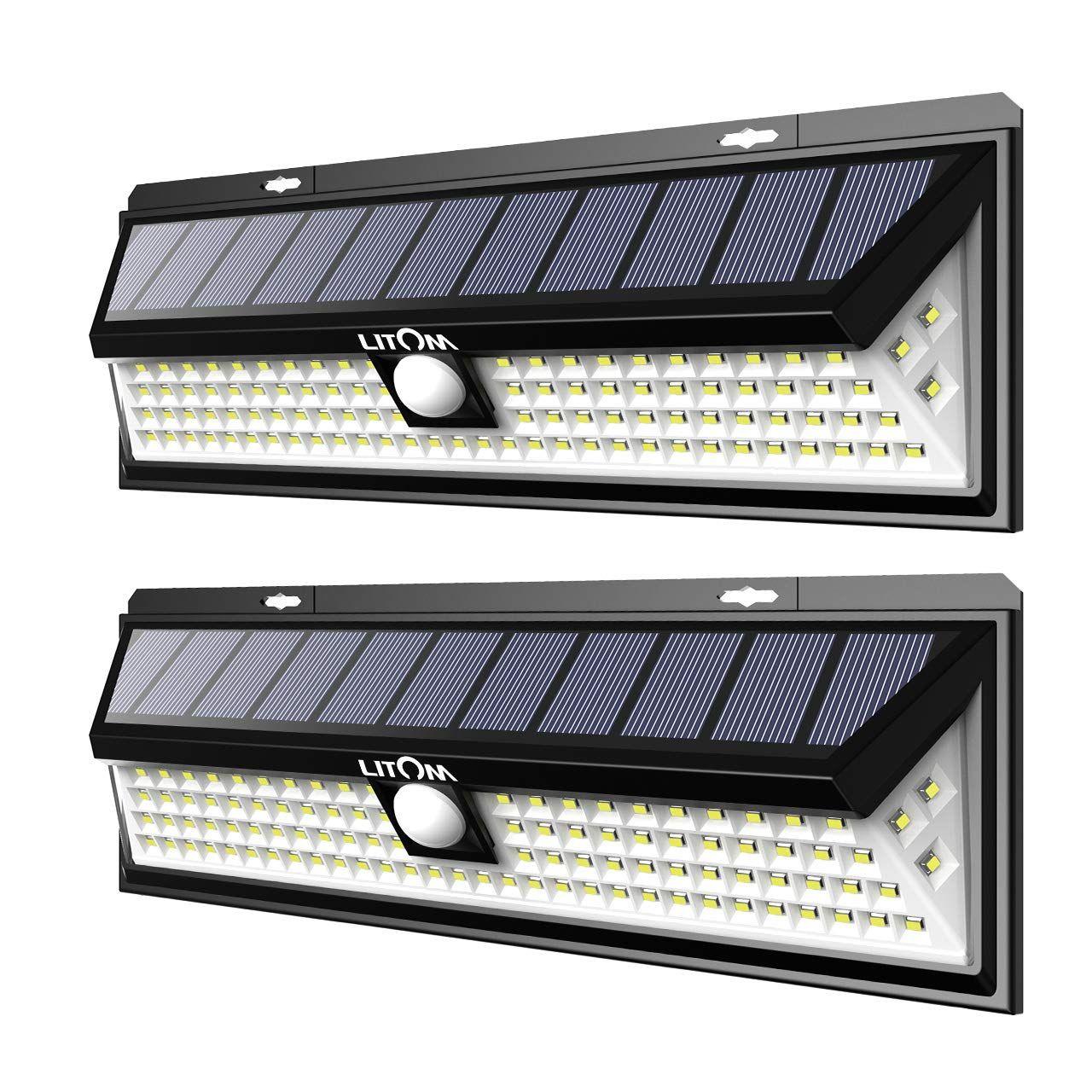 Litom Enhanced 102 Led Super Bright Solar Lights Outdoor Solar Motion Sensor Lights With 2 Outdoor Security Lights Brightest Solar Lights Motion Sensor Lights