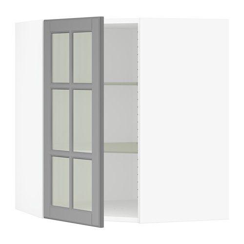 SEKTION Corner Wall Cabinet With Glass Door, White, Bodbyn Gray White    Bodbyn Gray 26x15x30