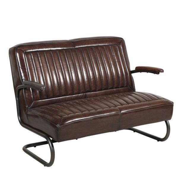 Pullman 2 Seater Leather Sofa Bench Side