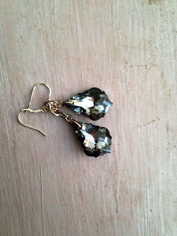 Baroque Crystal Earrings Black Uk Er Swarovski Dangle Drop Pair Sterling Silver Hooks