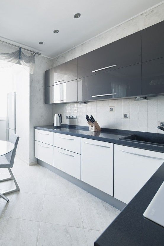 Modern White Kitchen Dark Floor grey and white gloss kitchen -boconcept designers. | modern
