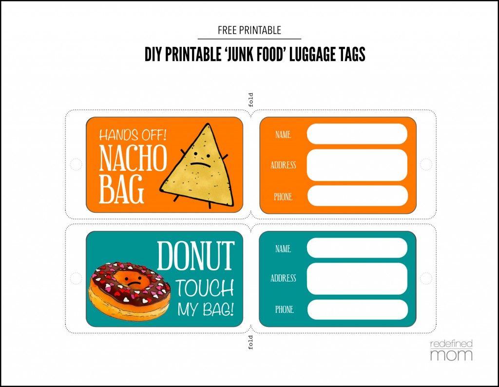 Diy Printable Junk Food Luggage Tags Luggage Tags Printable