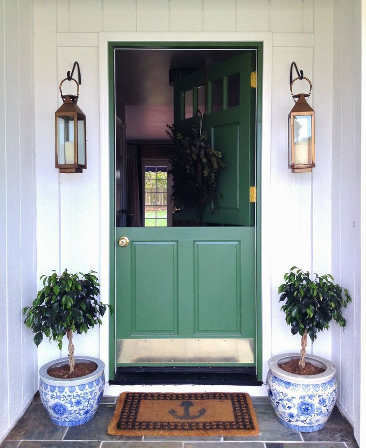 Sage Green Painted Dutch Front Door With Brass Doorknob, Copper Hanging  Lanterns And Chinoiserie Topiary