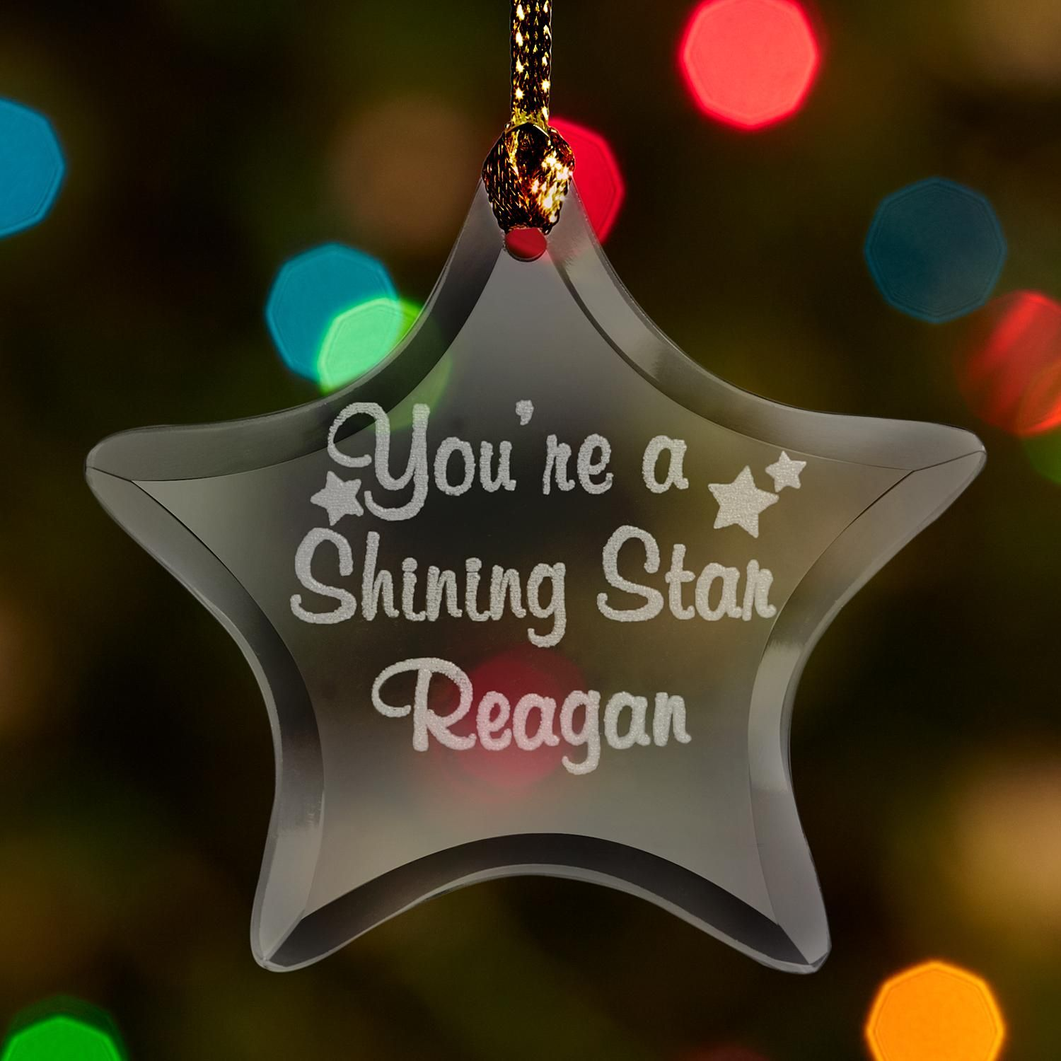 Personalized Shining Star Glass Ornament - Personal ...