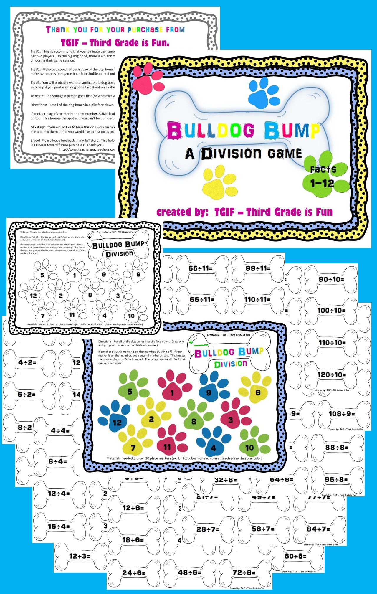 Division Facts Game For Facts 1 12