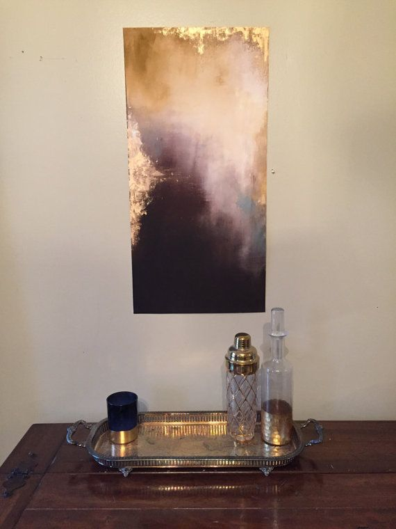 gold giclee print long wall decor - hand painted - abstract