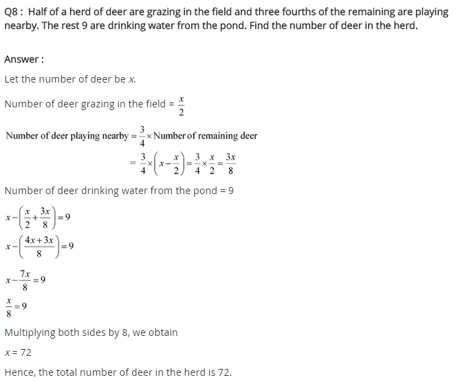 NCERT solutions for class 8 maths linear equation in one