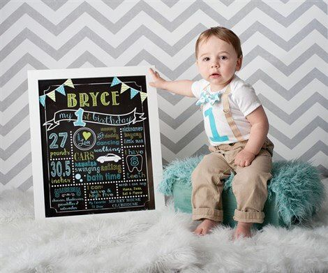 1st First Birthday Chalkboard Poster Board  by SweetBeeTeaBoutique