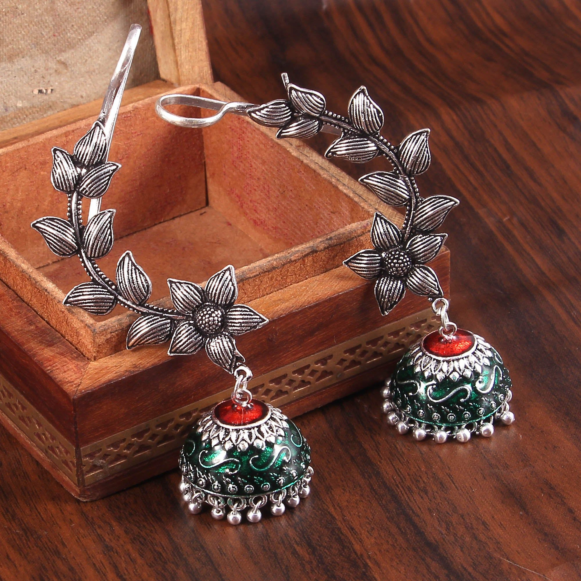 Oxidized Silver Plated Meenakari Ear-cuff Jhumka Jhumki Earrings Jewelry women