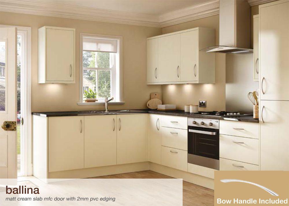 Best Ballina Matt Cream Flat Packed Kitchen Base And Wall Units 400 x 300