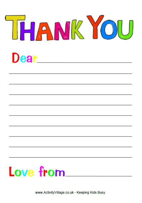 free printable thank you note paper for children search results - Papers For Kids