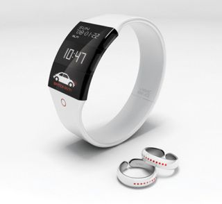 Vibering Jewelry for the deaf (concept) - The rings are worn on both hands…