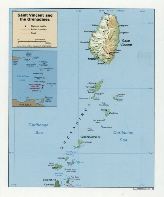 St. Vincent & the Grenadines Map - 1996 in 2018 | Products ...