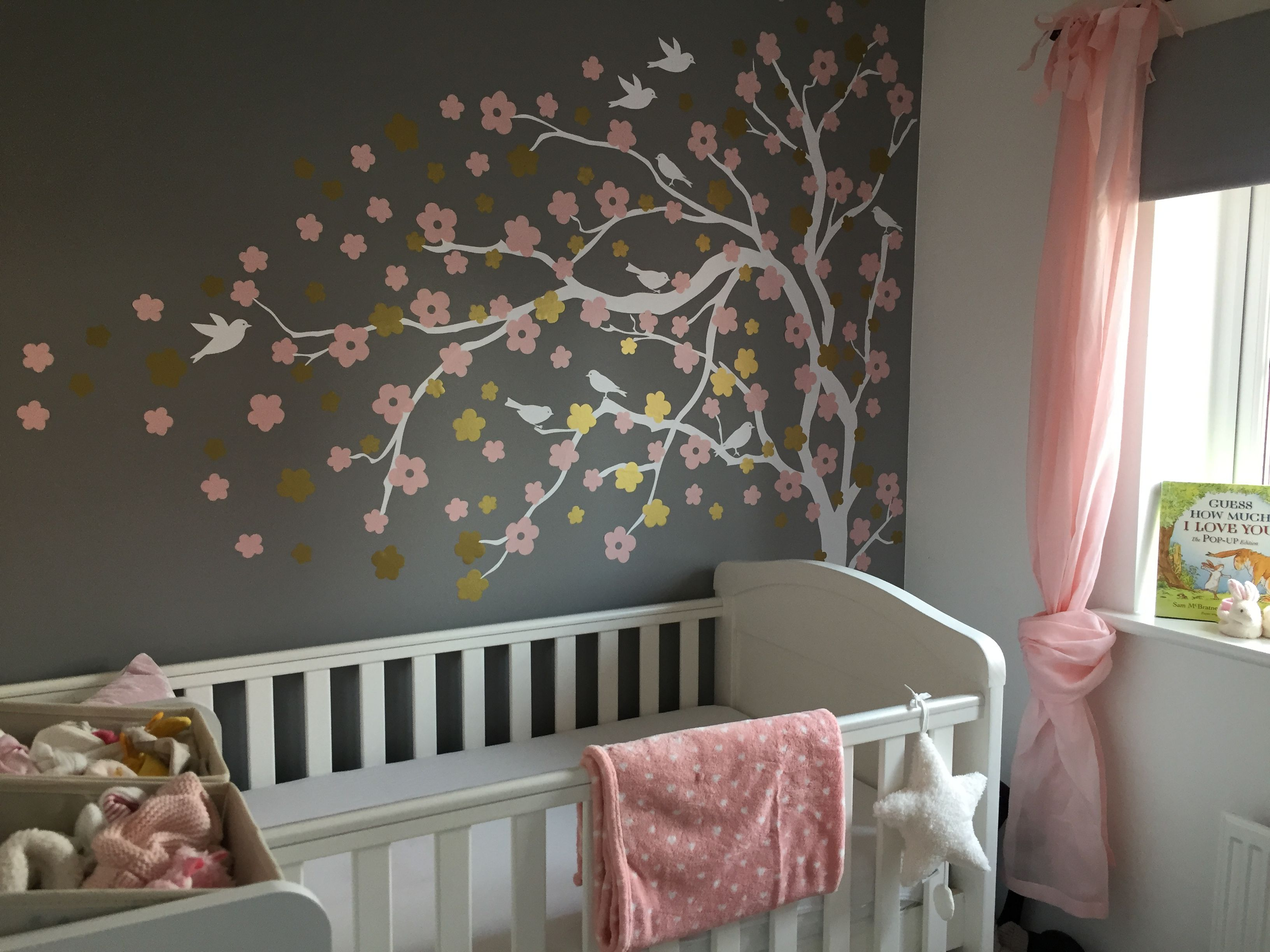 Baby Girl Grey Pink White Gold Nursery Blossom Tree Wall Sticker