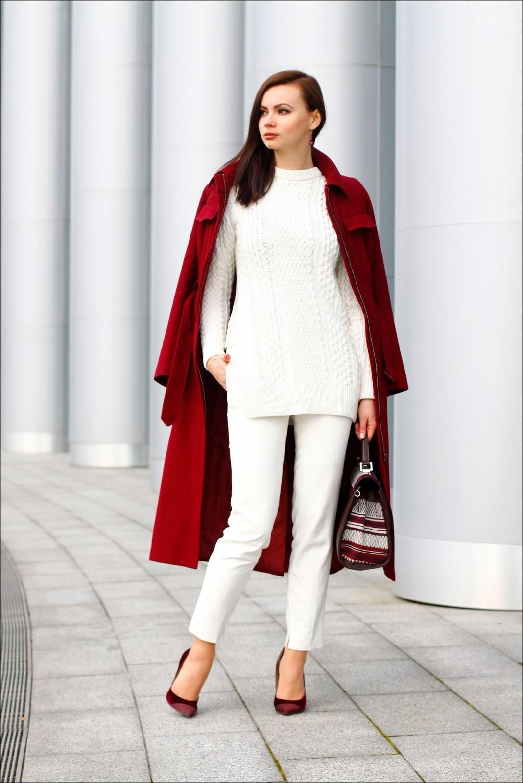 Fall / Winter Outfit Idea: Gorgeous all white ensemble styled with a luxe red velvet coat and matching classic pumps—so festive.
